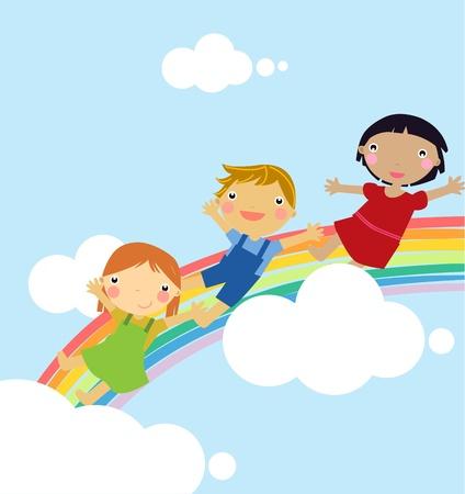 rainbow slide: Children on rainbow slide Illustration