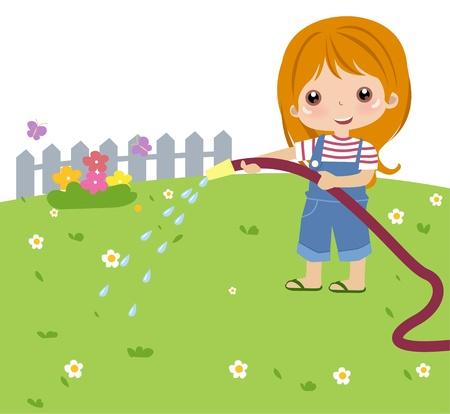 cute girl watering flower  Stock Vector - 9775339