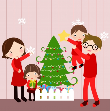 Illustration of happy family at christmas  Vector
