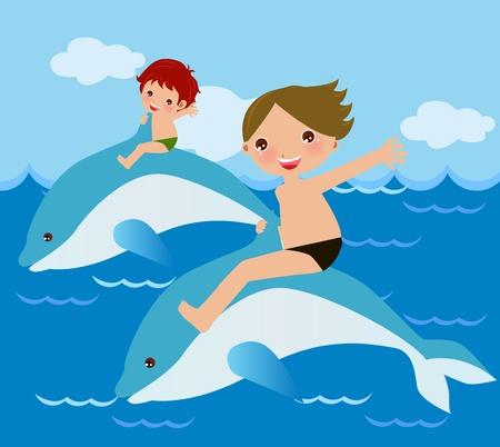 swim boy: Friendship with the dolphins  Illustration