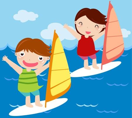 children surfing  Vector