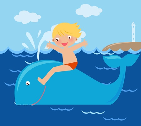 kid on whale  Vector