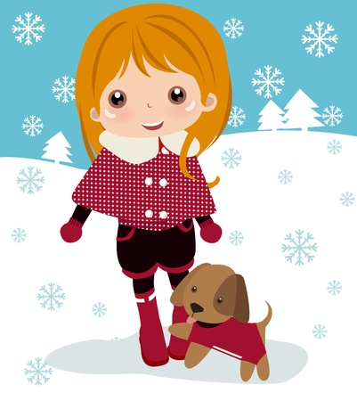 kind: Cute girl and dog  Illustration