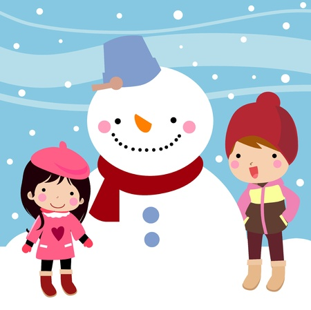 Kids with Snowman  Vector