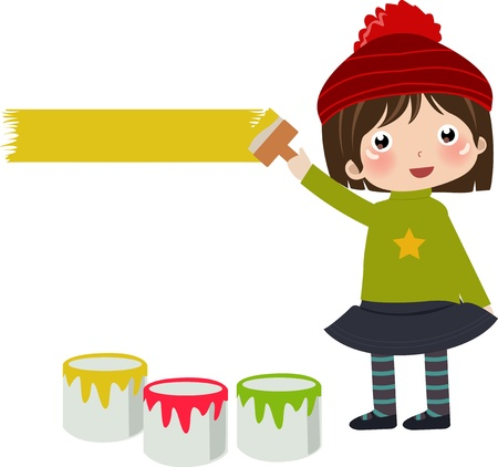girl with paint  Vector