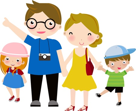 Illustration of a hapyy family with two children Vector