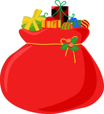 Christmas bag with gifts -illustration  Illustration
