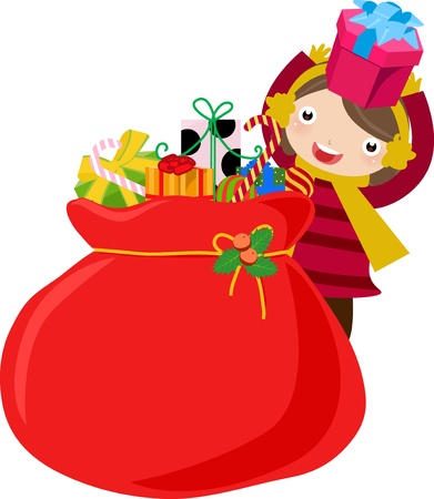 children and christmas bag  Vector