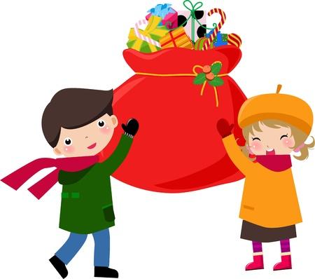 dar un regalo: Bolsa de Navidad y los ni�os  Vectores