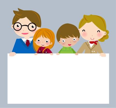 Family holding banner Stock Vector - 8887084