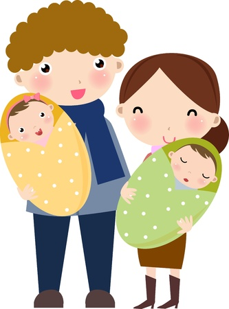 sentiment: happy family  Illustration