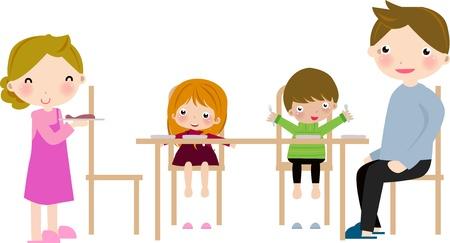 woman eat: Caricatura de familia feliz tener comida.