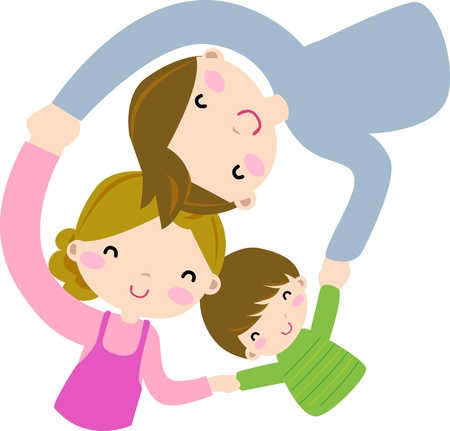 healthy family: happy family  Illustration