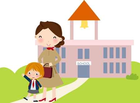 Woman with young girl are going to school  Vector