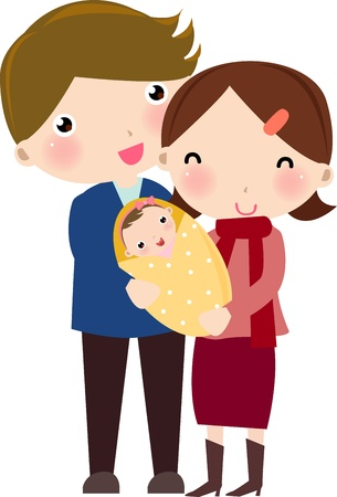 two generation family: happy family  Illustration