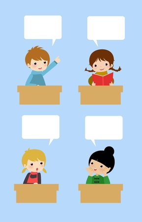 students talking: Children discussion  Illustration