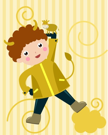 bull illustration cute animals: Taurus Child - (11 of 12)