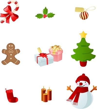 beautiful christmas icon set  Vector
