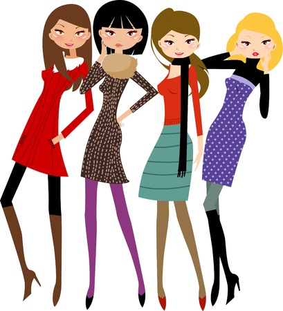 female friends: pretty girl Illustration