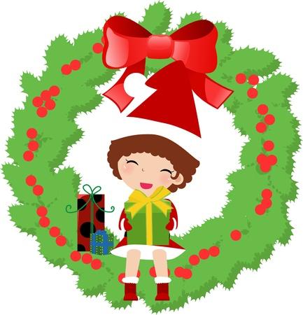 girl and christmas wreath  Vector