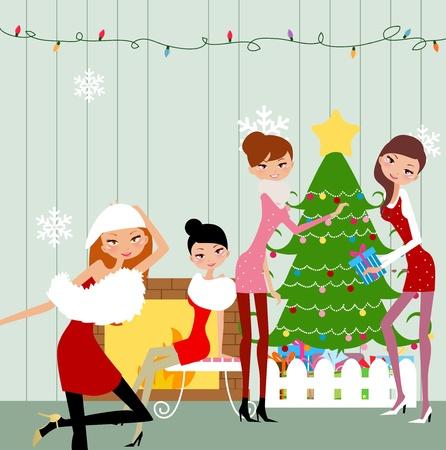 fur tree: Festa di Natale Vettoriali