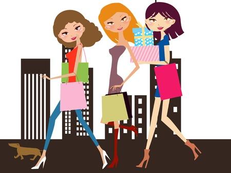 tanned girl: shopping women