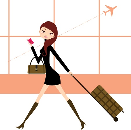 depart: Stylish woman on her travels at airport. Illustration in retro style
