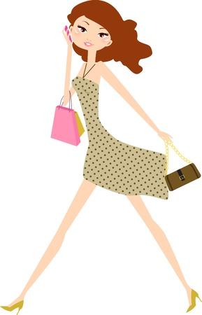 compras chica: chica de compra Vectores