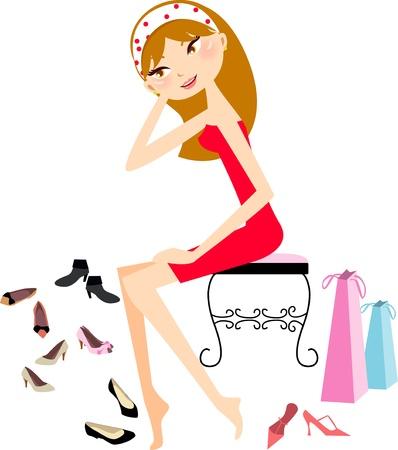 legs heels: pretty girl shopping for heels