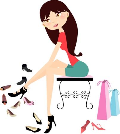 good break: Compras en una tienda de zapatos de ni�a bonita  Vectores