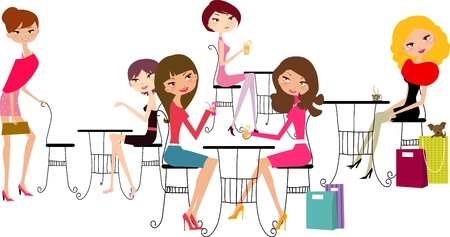 girls in the cafe  Stock Vector - 8887691