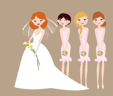 bridesmaid: Bride and bridesmaids with flower girl