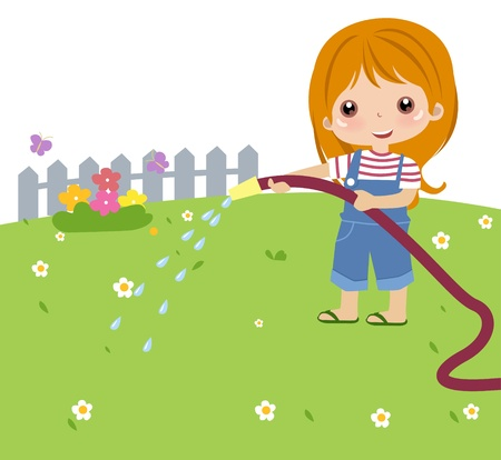 Girl watering a plant  Vector