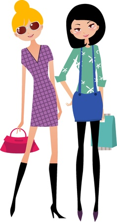 woman accessories: shopping girl illustration