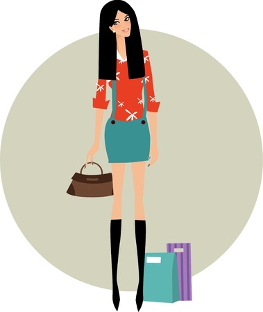 shopping girl illustration Stock Vector - 8887588