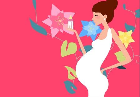 happy pregnant: Pregnant woman