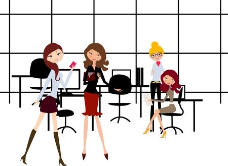 mobbing: Vector version: Girls In the Office