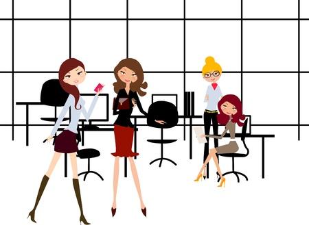 business stress: Versi�n de vector: las ni�as en la Oficina  Vectores