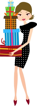 Young woman holding gift box  Vector