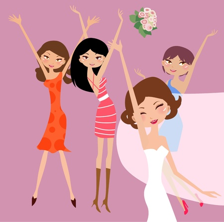 Bride and bridesmaids with flower girl  Vector