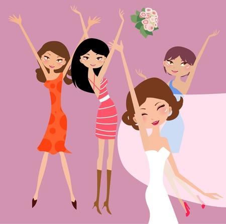 Mariée et demoiselles d'honneur avec fille de fleur Vecteurs