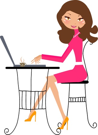 women and computer Stock Vector - 8887581