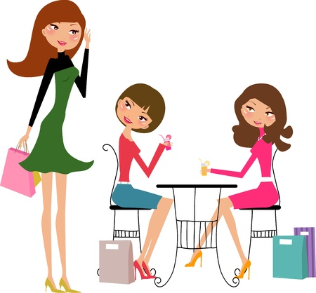 girls in the cafe  Stock Vector - 8887590