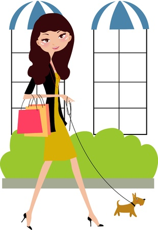Fancy girl and her dog going shopping  Vector