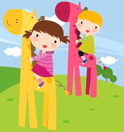 children and giraffe Vector