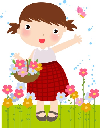 flowers cartoon: Illustration Featuring a Young Girl Carrying Flowers - Vector