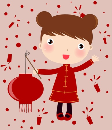 chinese girl Stock Vector - 8887562