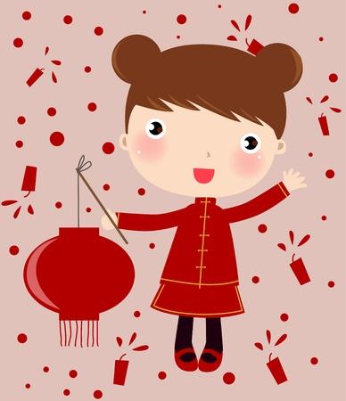 bambini cinesi: ragazza cinese Vettoriali