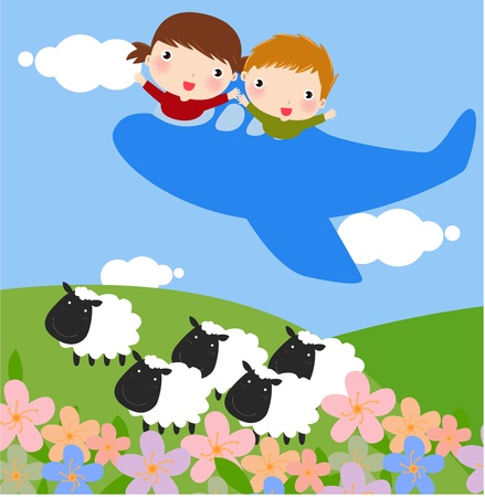 llustration of Kids Going on a Joyride in a Mini Plane  Vector