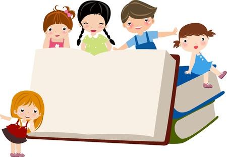 libro caricatura: Un grupo peque�o de ni�os sentados en pilas de libros